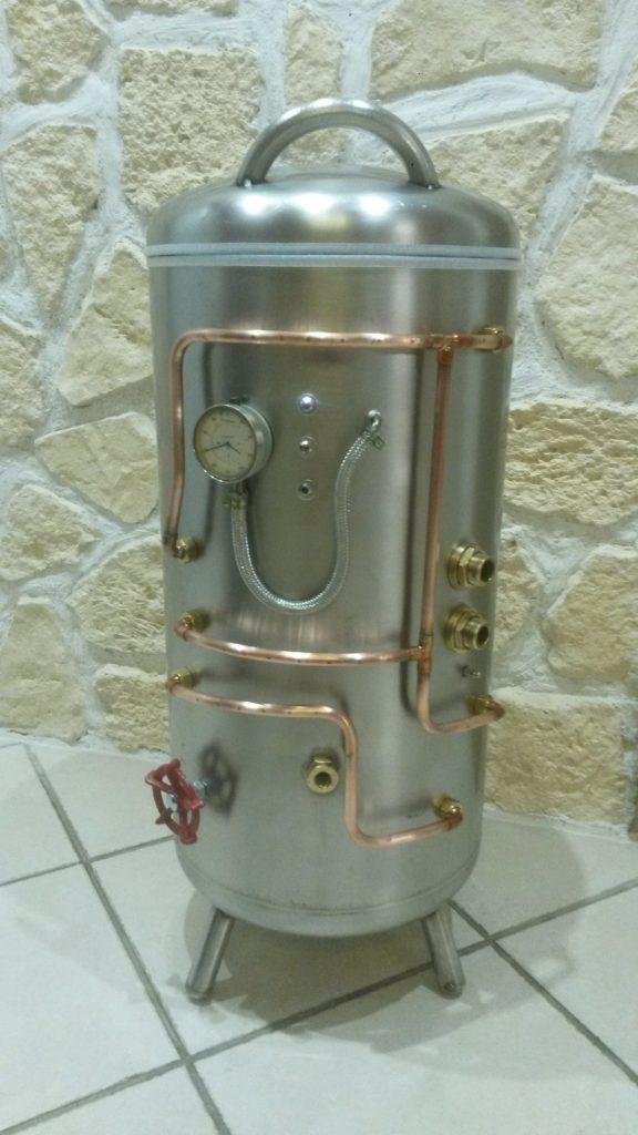 chauffe eau inox transformé en deco