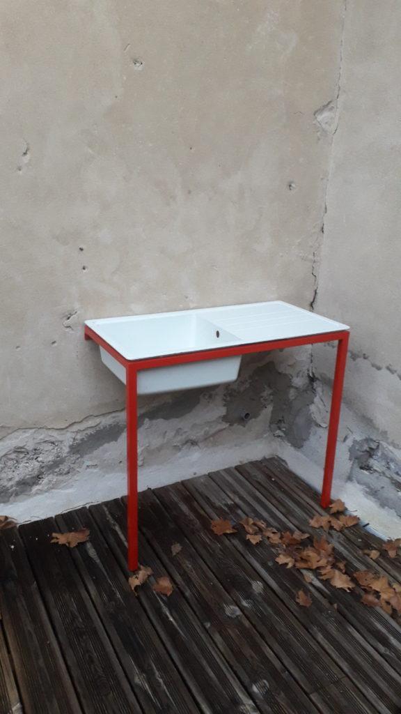 support lavabo acier