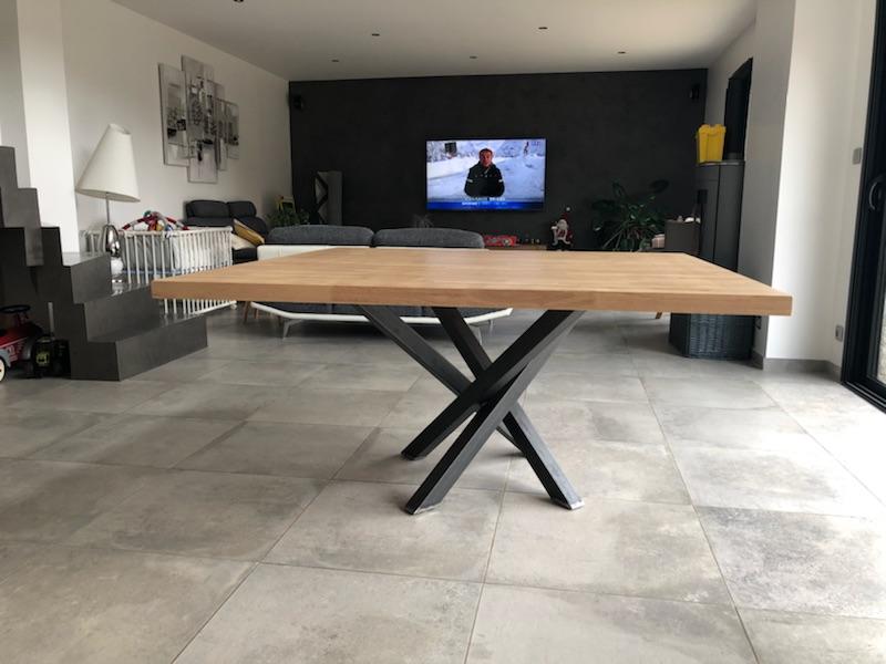 table à manger acier et bois